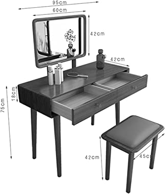 HHTD Dressing Table A Wooden Stool with Mirror Dressing Table Drawer 2 Bedroom Suite Cosmetic Dressing Table Table Jewelry Ca