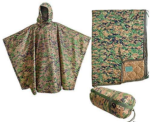 USGI Industries Marpat Gear Regenponcho mit Militär-Spezifikationen, Notfallzelt, Mehrzweck-Einsatz, Camouflage, Überlebens-Regenponcho (2er-Pack Marpat Gear)