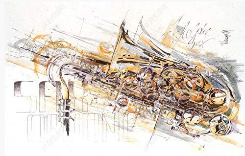 Papel tapiz fotográfico Fotomurales 3D Saxofón instrumento musical 300(W)X210(H) cm Lana Fondo De Pantalla Moderna Decoración De Pared Sala Cuarto Oficina Salón