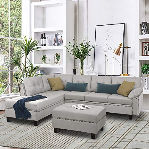 Knowlife Sectional Sofa Couch Set with Chaise Lounge and Storage Ottoman Nail Head Detail for Living Room, Gray