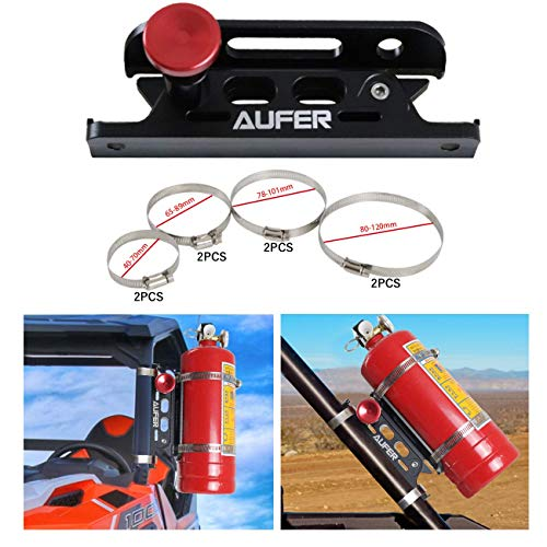 AUFER Universal Aluminum Adjustable Quick Release Roll Bar Fire Extinguisher Mount Holder with 8 Clamps for Jeep Wrangler UTV Polaris RZR Boat and Home Office Garden etc.(for 1-10 Lb. Extinguishers)