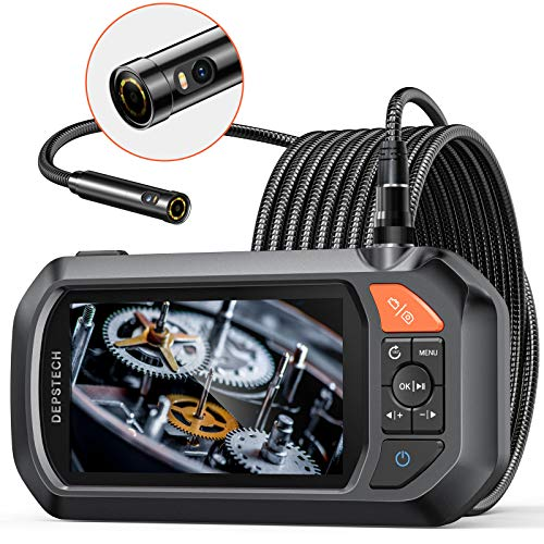 Endoscope Dual-Lens, DEPSTECH 4.3' IPS Screen Industrial Borescope with 3000mAh Battery,1080P HD+...