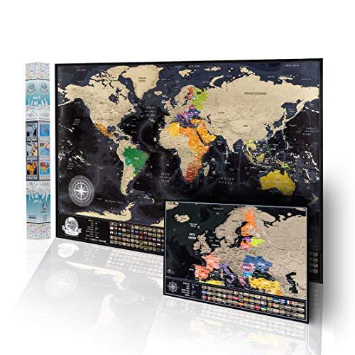 Póster de mapa del mundo para rascar + y Mapa Rascable Europa A3. Mapa detallado con 736 ciudades más grandes del mundo, 196 banderas de países, 76 profundidades marinas, 13 picos de montaña