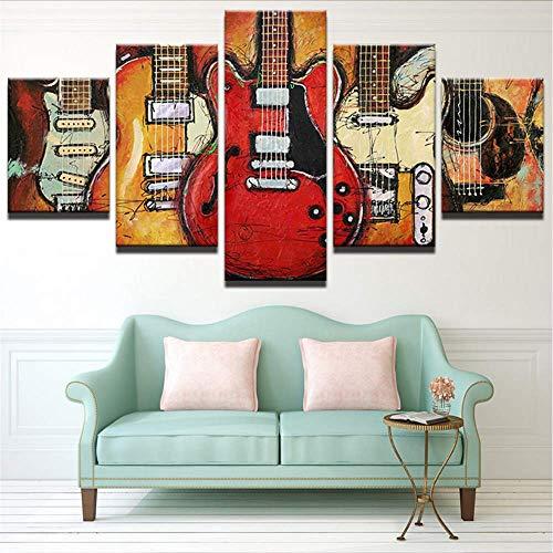 Qwerlp Tela Pittura Immagini Stampate 5 Pezzi Decorativi Per La Casa Per Soggiorno Astratta Chitarra Musica Wall Art Poster Moderna Opera D'Arte