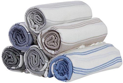 (Set of 6) 100% Turkish Cotton Bath Beach Hammam Peshtemal Towel Throw Fouta Blanket Set XL Prewashed (Multi4)