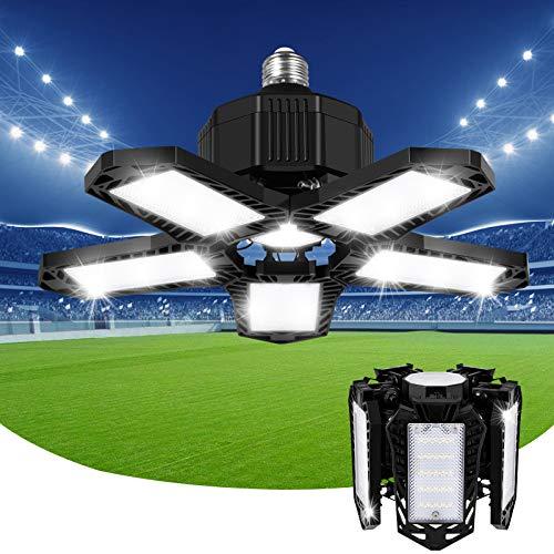 LED Lámpara de Garaje, 80W E27/E26 Deformación Luces de Garaje 8000lm 6500K con 5 paneles ajustables Led Techo de Seguridad, para Garaje Taller Granero Almacén sótano gimnasio