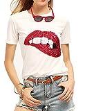 Blusa para Mujer con Lentejuelas Brillantes, impresión de Labios, Bonita, Bordada, para Adolescentes - Blanco - Large
