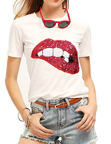 Women's Sequined Sparkely Glittery Lip Print T Shirt Cute Embroidery Teen Girls Tops (S,White)