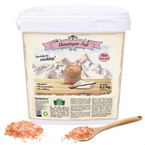 Nortembio Rosa Himalaya-Salz 6,2 Kg. Grob (2-5 mm). 100% Natürliches Salz. Reich an Mineralien. Gesundes Kochen. Unraffiniert. Ohne Konservierungsstoffe. Aus Punjab Pakistan.