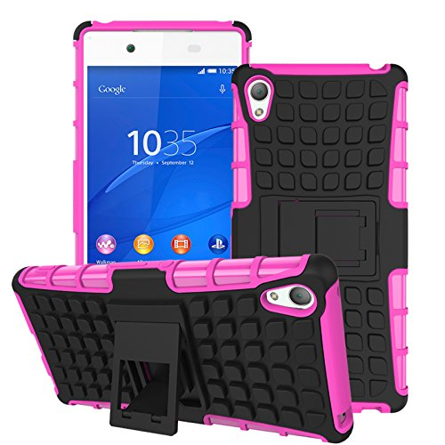 Qiaogle Telefon Case - Shockproof TPU + PC Hybrid Ständer Schutzhülle Case für Sony Xperia Z4 / Xperia Z3 Plus / E6533 (5.2 Zoll) - HH07 / Rosa