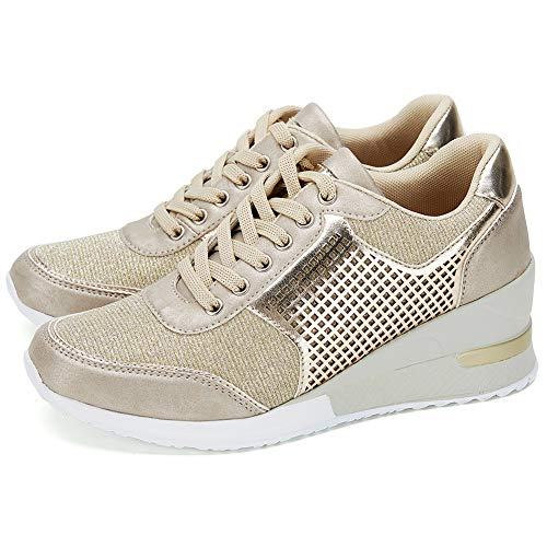 Gold High Heeld Wedge Sneakers for Women - Ladies Hidden Sneakers Lace Up Shoes, Best Chioce for Casual and Daily Wear SM1-GOLD-8.5