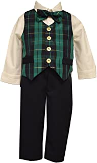Boys Holiday Outfit Navy Green Plaid Vest Shirt Pants Set Bonnie Jean (12 Months)