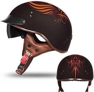 GAOZH Motorradhelm,Mopedhelm Halbschalenhelm Retro Jethelm Für Damen Und Herren ECE Zertifizierung Mit Visier Erwachsene Oldtimer Vintage Style Harley Helm