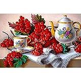Powzz - Decoración 5D para manualidades, pintura de diamante 5D, diseño de taza de té de cerezo