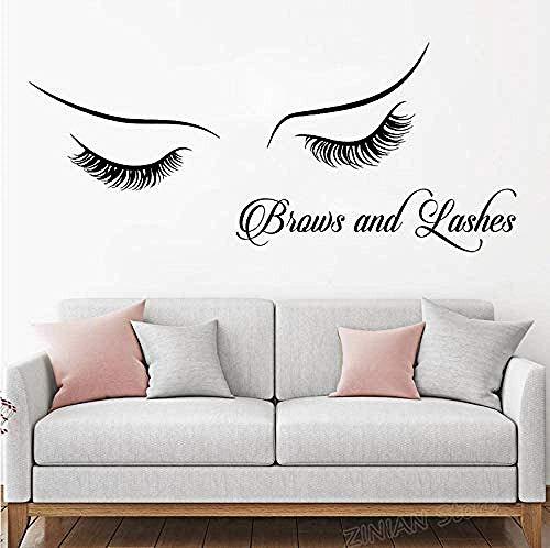 Augenbrauen Und Wimpern Wandaufkleber Poster Home Decoration Schlafzimmer Beauty Salon Vinyl Applique Wimpernverlängerung Kunst Aufkleber Mädchen 57X25Cm