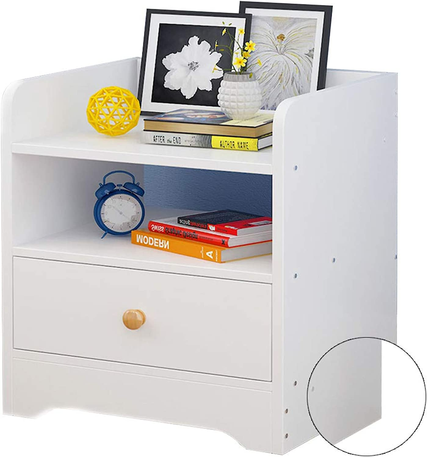 Coffee Table Bedside Cabinet, Open Storage Single Drawer Simple Bookcase Suitable for Student Dormitory Study Room 3 colors (color   A)