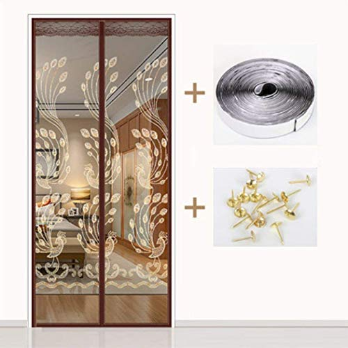 ZEFENG Home Kitchen Bedroom Silent Velcro Safety Convenience Magnetic Screen Door Magnetic Curtain Frame Encryption Strong Grid Screen Door Summer Anti-Mosquito Velcro Ventilation Soft Curtain,E_1202