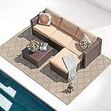 Patiorama 5 Piece Outdoor Patio Furniture Set, Outdoor Sectional Conversation Set, All-Weather Brown PE Wicker w/Beige Cushions, Outdoor Backyard Porch Garden Poolside Balcony Furniture Set