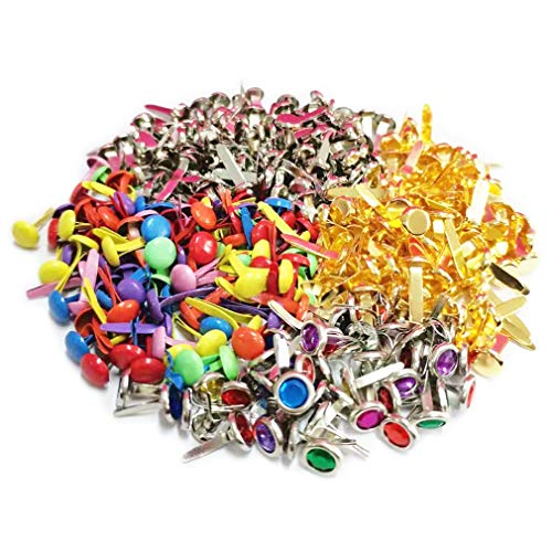 RuiChy 350 Stück Mini Scrapbooking Brads, 8x17mm Sortierte Farbe Metall Papierbefestigungen, Runde Brads Splinte Musterklammern zum Papier Handwerk DIY Projekte Verschönerung Briefklammern
