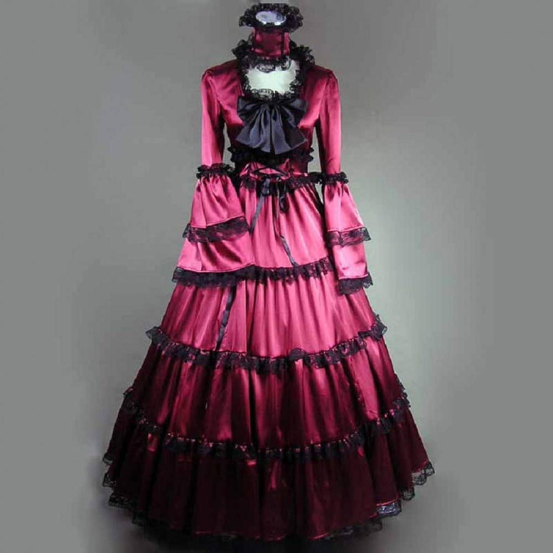 QAQBDBCKL Long Sleeve Classic Womens Dress Gothic Lolita Costumes Halloween For Women Fantasias Cosplay Princess Girl Sweet Palace Dresses