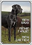 Petsigns Hundeschild Deutsche Dogge blau - Great Dane - Exklusives Alu Schild - TOP TIPP, 1. DIN A5