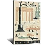 GANZAO Póster de viaje vintage de Alemania Berlín Mod lienzo arte imagen moderna oficina familiar dormitorio carteles decorativos regalo decoración pared pintura cartel 8 × 12 pulgadas (20 × 30 cm)
