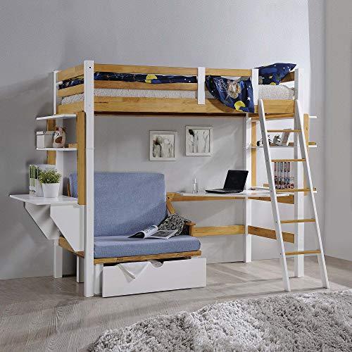 Deco In Paris - Cama mezclada de 90 x 190 cm, con escritorio de calefacción y almacenamiento de madera y blanco
