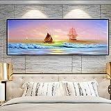 Atardeceres Paisaje marino natural Navegación Paisaje marino Póster e impresión Lienzo Pintura Cuadro de arte de pared para decoración de sala de estar 20x60cm (8'x24') Sin marco