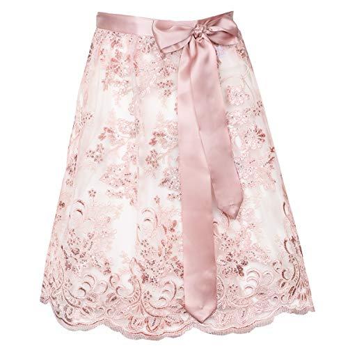 MarJo Dirndlschürze Rosa   65cm 65er Länge rosa   Spitzenschürze Spitzendirndlschürze Schürze   Spitze mit Pailletten (65cm Länge, S)