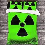 KDRW Funda de edredón Ropa de Cama y Ropa de Cama edredón y Funda de edredón Nuclear Radiation Danger Duvet Cover Bedding Sheet Set, 3 Piece Set Comfortable Luxurious(Duvet Cover + 2 Pillowcases)