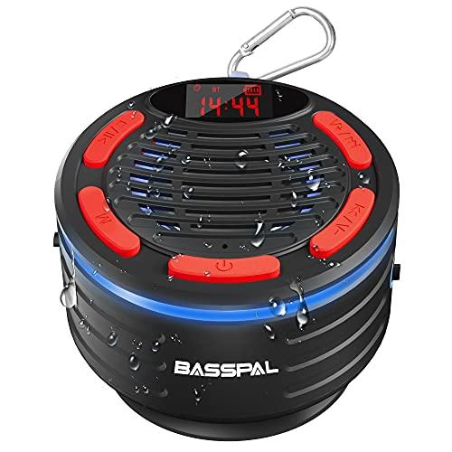 Altavoz Bluetooth, BassPal IPX7 Impermeable Portátil Altavoz Ducha con Radio, Espectáculo de Luz, y Estéreo, Altavoces Inalámbricos Bluetooth para Fiestas en la Piscina Outdoor