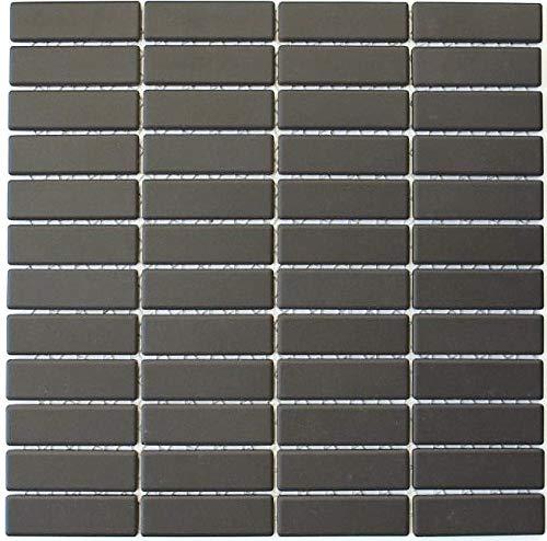 Mosaikfliese Keramik Stäbchen braun unglasiert MOS24-CUST051