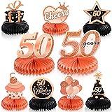 9 Piezas Centros de Mesa de Panal de 50 Cumpleaños de Oro Rosa Adornos de Mesa Happy 50th Birthday Decoraciones de Fiesta de Cumpleaños de 50 Años Favores de Fiesta de 50 Años