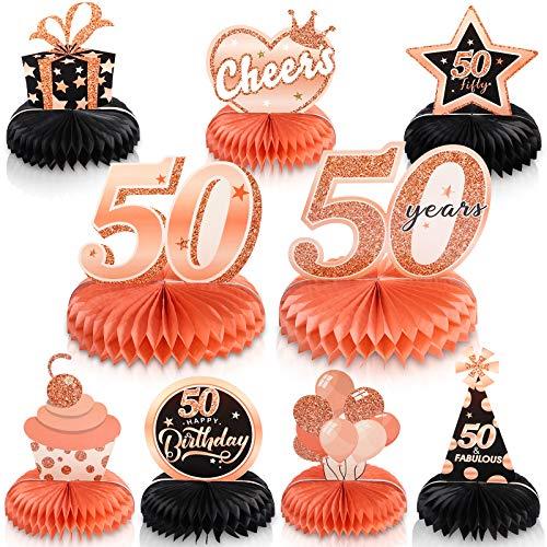 9 Piezas Centros de Mesa de Panal de 50 Cumpleaños de Oro R