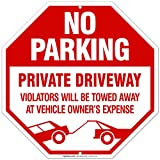 Private Driveway Sign, No Parking Sign, 12x12 Octagon Shaped Heavy 0.40 Aluminum, UV Protected, Long Lasting Weather/Fade Resistant, Easy Mounting, Indoor/Outdoor Use, Made in USA by Sigo Signs