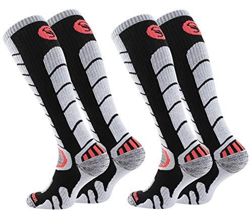 STARK SOUL 2 paires de chaussettes de ski et snowboard avec rembourrage spécial pour homme et femme. - Noir - 39-42