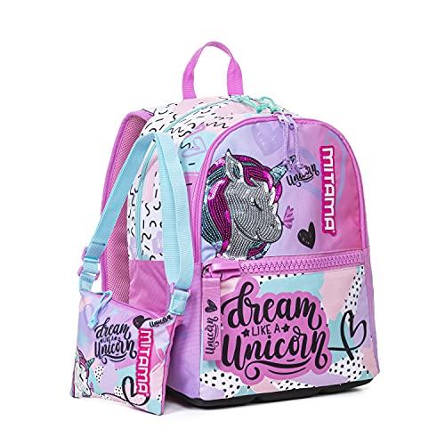 Mitama Zaino Plus, Pastel Unicorn, Girl, Scuola e Tempo Libero, con Borsetta Omaggio e Shopper