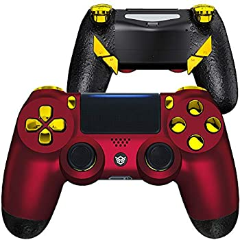 HexGaming Esports Edge Controller 4 Mappable Rear Buttons & Interchangeable Thumbsticks & Hair Trigger for PS4 Controller Custom Controller PC Wireless FPS Gamepad -Scarlet Red