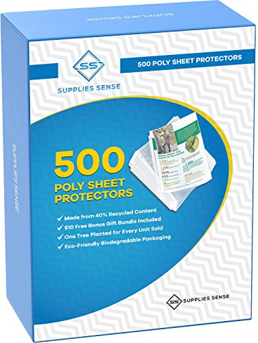 500 Page Protectors 8.5 x 11, Top Loading / 3 Hole Design Sheet Protectors, Archival Safe for Photos or Printed Copy, Holds Multiple Sheets