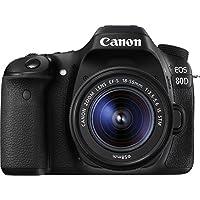 """Canon EOS 80D - Cámara réflex digital de 24.2 MP (pantalla táctil de 3"""", video Full HD, enfoque automático, WiFi) negro - kit cuerpo con objetivo Canon EF 18 - 55 mm f/3.5 - 5.6 IS (versión importada)"""