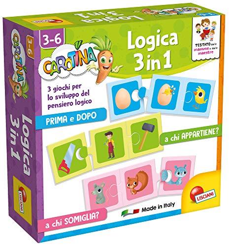 Lisciani Giochi- Carotina Quadrotte Logica 3 in 1 Gioco Educativo Prescolari, Multicolore, 87488