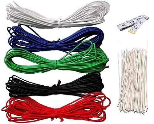 1/8 Inch (3mm) Elastic Band Round Braided Stretch Strap Cord Roll in Multi Color for Homemade DIY, Knitting, Sewing and Crafting Projects (10M Each. Total 50M) Free Tape Rule and 30 Nose Bridge Wires