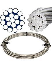 25 M de acero inoxidable - Cable de 1 x 19 duro D=3 mm - acero inoxidable A4 cable de acero