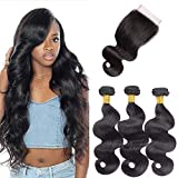 Brazilian Body Wave 3 Bundles with Lace Closure 4 x 4 free Part 100% Unprocessed Human Hair Weft extensions Natural colore (12 14 16+12 inches)
