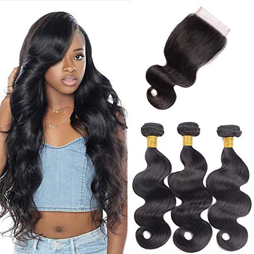 Brazilian Body Wave Bundles with Closure (12 14 16+12) 10A Brazilian Virgin Human Hair Body Wave Bundles with 4x4 Lace Closure Bundles with Closure