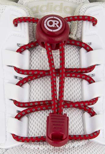 ONLY RUN Reflektierende Elastische Schnürsenkel mit Schnellverschluss perfektes Schnellschnürsystem für Kinder, Erwachsene & Senioren und für sportliche Aktivität wie Marathon, Triathlon (Rot)