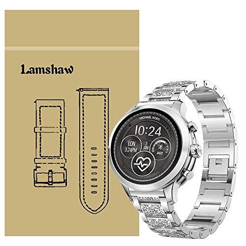 Ceston Diamante de imitación Metalica Acero Moda Correas para Reloj Inteligente Michael Kors Runway (18mm, Plata)