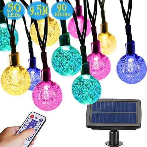 Cadena de Luces Solar, Aenamer 9,5M 50 LED Guirnaldas Luces Exterior con Remoto Control, Impermeable Festival Luces de Bolas de Cristal de Hadas para Jardín Terraza Fiestas Navidad