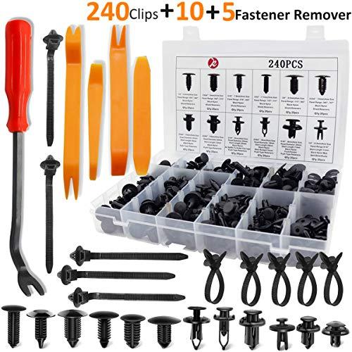 KCRTEK 245pcs Car Retainer Clips,Plastic Fasteners Kit with 12 Sizes for Toyota,GM,Ford,Honda,Acura,Chrysler