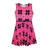 Legging, robe patineuse midi, haut court, combinaison, jupe patineuse à motif tartan rose, par A2Z 4Kids®. Âge : de 7 à 13 ans. - rose - 36